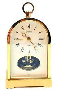 Vtg Linden Quartz Brass Mantle Alarm Desk Table Shelf Clock Rotating Pendulum
