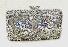 Silver AB Flower Design Handmade Austrian Crystal ~Bridal /Evening Clutch Bag