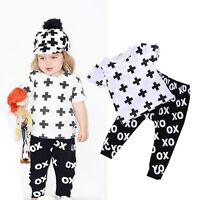 Newborn Baby Boys Girls Toddler Kids T-shirt Tops+Pants Outfit 2pcs Clothes Sets