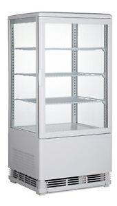 Mini-Kühlvitrine weiß, 68 Liter, rundum verglast, 4 Ebenen - Aufsatzkühlvitrine