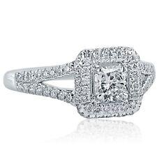 1.06 Ct E-VS1 Radiant Cut Natural Diamond Engagement Halo Ring Split Shank 18k