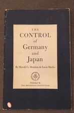 The control of Germany and Japan Book by Moulton & Marlio 1944 Vintage WWII