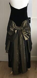 Vintage LAURA ASHLEY Heavy Velvet Ballgown Dress Size 10/12 Gold Bow Detail
