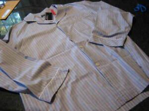 NWT - Mens ROUNDTREE & YORKE Gray Stripe  Cotton Long Sleeve Pajamas (2XB)