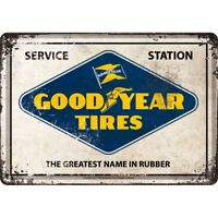 Retro Tin Metal Postcard 'GOODYEAR' TIRES 10x14cm Tyres Service Station Licensed
