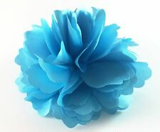 """USA"" Hair Fabric Flower Clip Brooch Womens Rose Peony Lady Sheer Blue Pin 04"