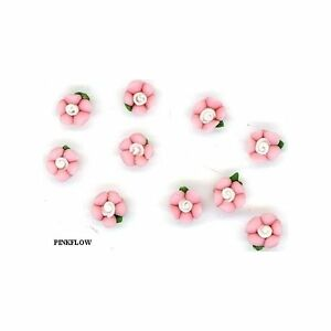 10 miniture Ceramic  PINK  FLOWERS  5mm