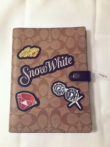 NEW Disney x COACH Notebook Snow White F73507 Signature Canvas w/ Leather