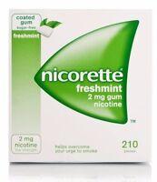 Nicorette Gum 2 mg Nicotine Fresh Mint (210 Pieces, 1 Bulk Box) FRESH