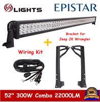 "07-19 For Jeep Wrangler JK Windshield Mounting Bracket 52"" Led Light Bar+ Wiring"