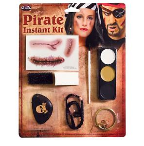 Pirate Halloween Fancy Dress Fake Scar Tattoos Eyepatch Earring Makeup Kit