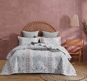 Pink Floral Quilted Mandala Coverlet Queen King Size Bedspreads Set
