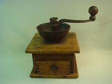 Antique Vintage Old Coffee Beans Grinder Working Wood /  Metal Rare Nr 1481