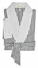 Brioni Men's Blue White Striped Belted Cotton Robe