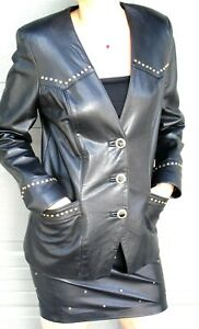BLACK LEATHER  SUIT -  JACKET and  SKIRT with GOLD STUDS -  size 6-8