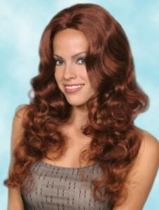 """WOMENS LONG LAYERS CURLY WAVY SKIN TOP WIG NO BANGS NATURAL CASSIE 22"""" DELUXE"""