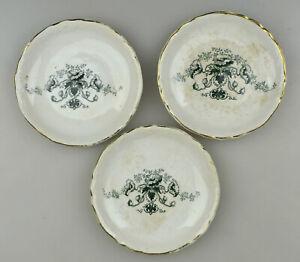 Three Vintage Porcelain Green Flower Floral Transferware Butter Pats Gold Trim