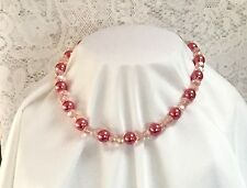 BEAUTIFUL NECKLACE TOP QUALITY SPARKLING CRYSTALS & PEARLS DARK PINK GREAT GIFT