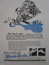 12/46 PUB BLACK & DECKER PORTABLE ELECTRIC TOOL LION MOUSE SOURIS LA FONTAINE AD