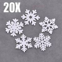 20Pcs  Wooden White Snowflakes Decorations Christmas Tree Party Charms Ornaments