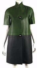 MARNI Summer 2012 Emerald Green & Navy Calf Leather Short-Sleeve Coat 40