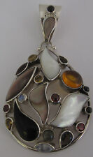 SAJEN Oversized Pear Shape Sterling Silver Pendant with Multishape Gemstones