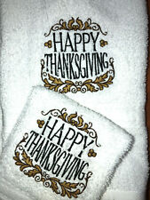 Embroidered White Cotton Hand Towel and Wash Cloth Set-Happy Thanksgiving H1401