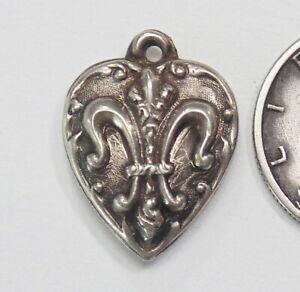 Vintage Sterling Silver Fleur-de-lis PUFFY HEART Bracelet Charm Pendant