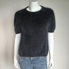 "Fuzzy 70% Angora Vintage Adreinne Vittadini Black Short-Sleeve Sweater 38""-Bust"