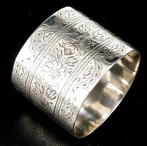 VICTORIAN SILVER NAPKIN RING 1895 HALLMARKED STERLING BY MARTIN HALL &Co