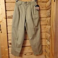 Lee Women's Sz 14P Petite Khaki Beige Pleated Front Relaxed Fit Dress Pants NEW