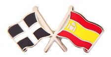 Spain Flag & Cornwall St Piran's Flag Friendship Courtesy Pin Badge