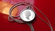 """1993 CANADA Proof half dollar 50c Coin Pendant on a 28"""" White Gold Filled Chain"""