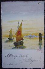 1906 BARCHE cartolina illustratore Abdon M. dipinta acquerellata a mano boats