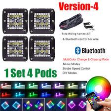 "4x 3"" 24W Cree Led Work Light Cube Pods RGB Halo Strobe Flash Bluetooth Control"