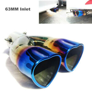 63MM Inlet Car Dual Exhaust Pipe Heart-shaped Tip Tail Muffler Stainless Steel