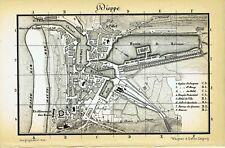 VINTAGE MAP PAGE + 1880 + DIEPPE + WAGNER & DEBES, LEIPZIG
