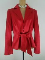 ESCADA Women Blazer Top Size 42 / 10 US Fire Red Wool Silk Satin Waist Tie