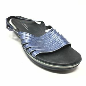 Women's Aravon Strappy Sandals Shoes Size 8.5 Blue Metallic Leather Casual AB4