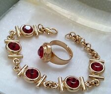 FANCY 24K GOLD HAMMERED RED RUBY STONES BRACELET ADJUSTABLE RING  SET