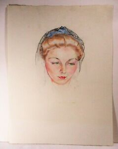 LOUISE LEMP PABST WI ARTIST BREWERY FAMILY PASTEL STUDY OF JEAN RISTEAU, MODEL