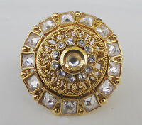Indian Bridal Jewelry Bollywood Party Wear Ethnic Cz Ad Adjustable Polki Ring