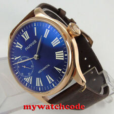 44mm parnis blue dial rose golden plated 6497 movement hand winding mens watch