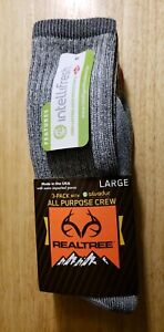 Realtree All Purpose Crew Socks 3 Pair Pack with silvadur Large Free Shipping