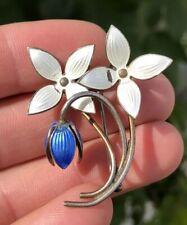 VTG AKSEL HOLMSEN NORWAY 3D DIMENSIONAL STERLING SILVER BLUE ENAMEL FLOWER PIN