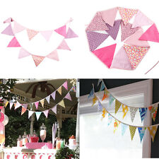 3.2m Fabric String Flags Pennant Bunting Banner Wedding Birthday Party Decor