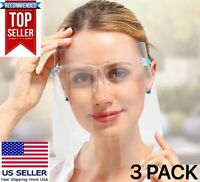 3 Face Shield Mask Safety Protection With Glasses Reusable, Anti Fog, USA SELLER