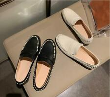Women Genuine Leather Pearls Round Toe Slip On Loafers Shoes Beige Black Spring