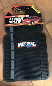 Vintage NOS Plasticolor Black Ford Mustang Rubber and Carpet Floor Mats 80's
