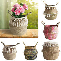 1pc Hot Sale Wicker Folding Hanging Basket Black Chrysanthemum Check Flower Vase